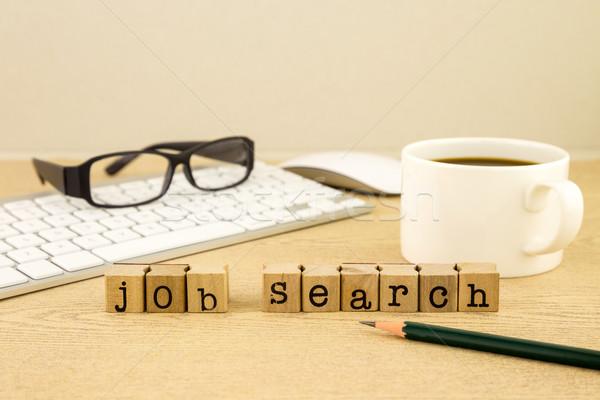 Bakıyor iş iş arama kelime kauçuk pulları Stok fotoğraf © vinnstock