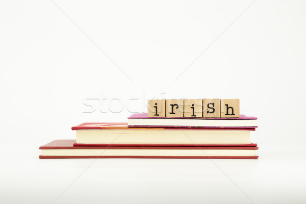 irish language word on wood stamps and books Stock photo © vinnstock