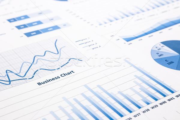 Kék üzlet táblázatok grafikonok statisztikai jelentések Stock fotó © vinnstock