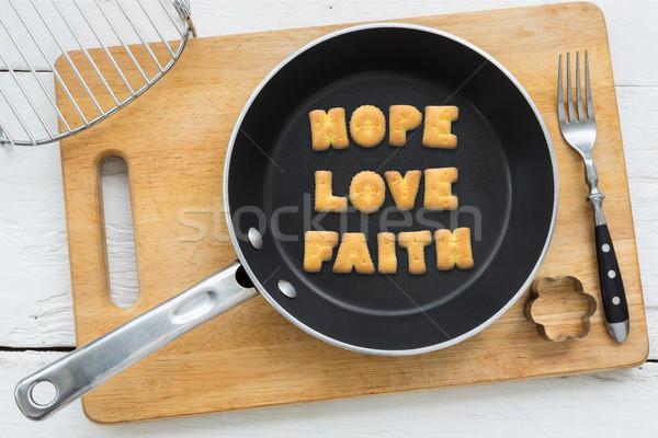 Brief biscuits woord hoop liefde geloof Stockfoto © vinnstock