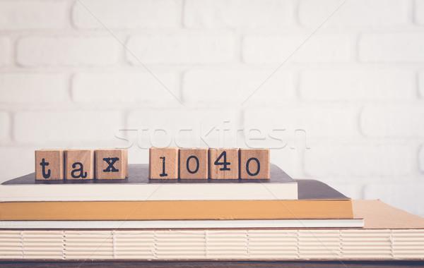 Szó adó 1040 copy space ábécé fából készült Stock fotó © vinnstock