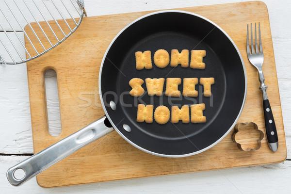 Mektup bisküvi aktarmak tatlı ana yemek Stok fotoğraf © vinnstock