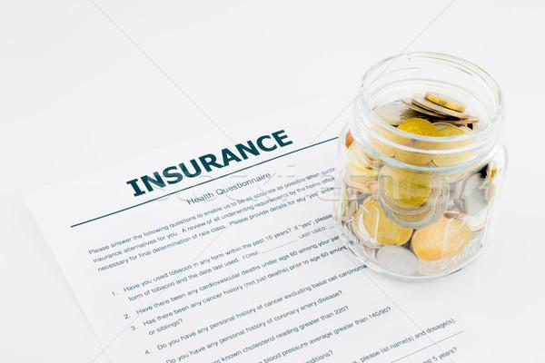 Assurance santé questionnaire pièces blanche verre Photo stock © vinnstock