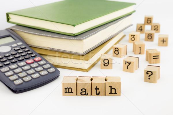 math wording and books on white background Stock photo © vinnstock