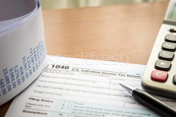 Egyéni jövedelem adó visszatérés űrlap 1040 Stock fotó © vinnstock