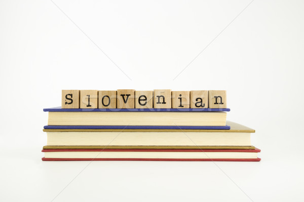 slovenian language word on wood stamps and books Stock photo © vinnstock