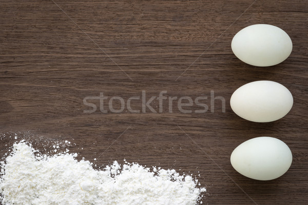 Stockfoto: Koken · eieren · meel · tabel · top
