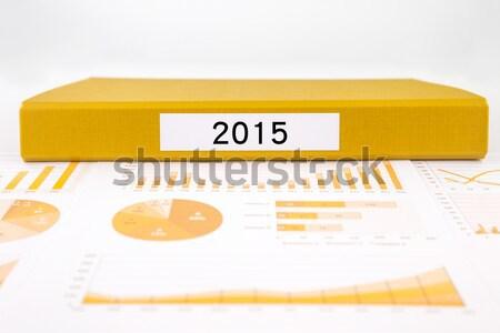 Citromsárga mappa üzleti grafikon összefoglalás jelentések címke Stock fotó © vinnstock