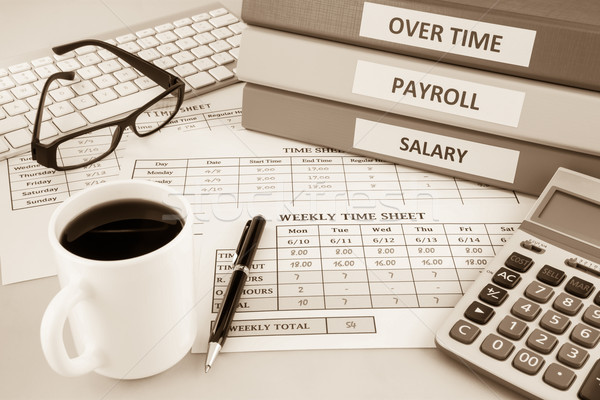 Payroll time sheet for human resources, sepia tone Stock photo © vinnstock