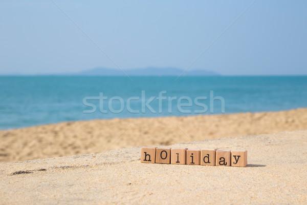 Ensoleillée vacances à la plage saison vacances mot bois Photo stock © vinnstock