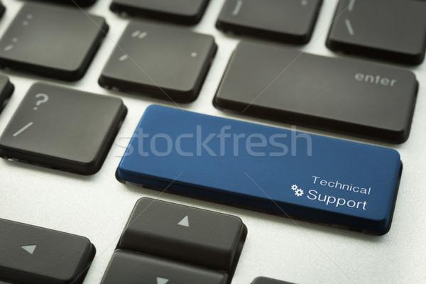 Typografisch technische ondersteuning knop focus Stockfoto © vinnstock