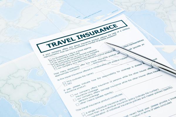 travel insurance form on world map Stock photo © vinnstock