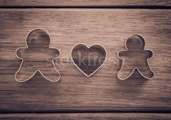 Boldog házassági évforduló valentin nap babák szív alak süti Stock fotó © vinnstock