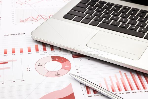 Laptop pen Rood business charts grafieken Stockfoto © vinnstock