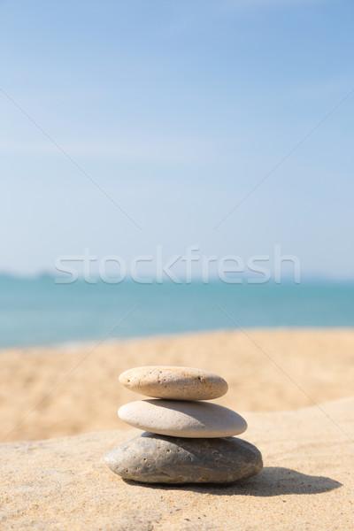 Stock foto: Steine · Gleichgewicht · Kieselsteine · sonnig · Meer