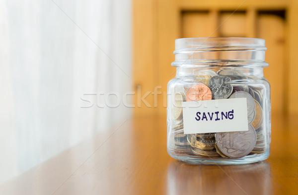 Pénz takarékosság pénzügyi tervezés üveg bank sok Stock fotó © vinnstock