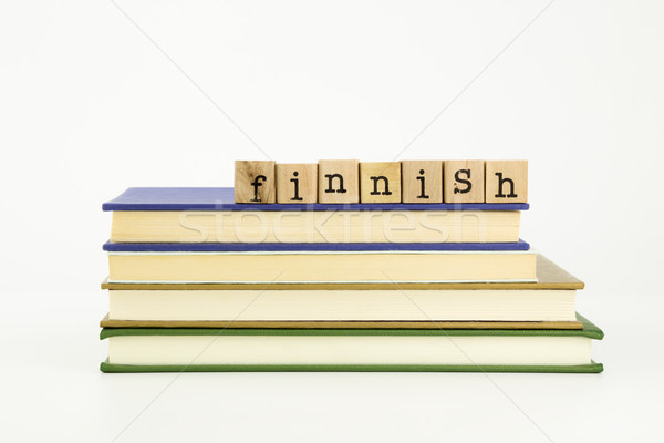Linguagem palavra madeira selos livros Foto stock © vinnstock