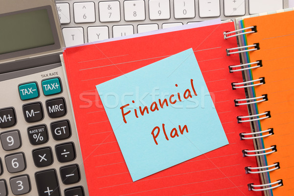 Bleu notepad mots financière plan papier Photo stock © vinnstock
