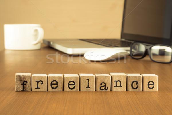 Iş serbest evden çalışma kelime ahşap Stok fotoğraf © vinnstock