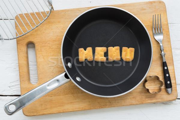 Alfabe bisküvi kelime menü mutfak gereçleri üst Stok fotoğraf © vinnstock