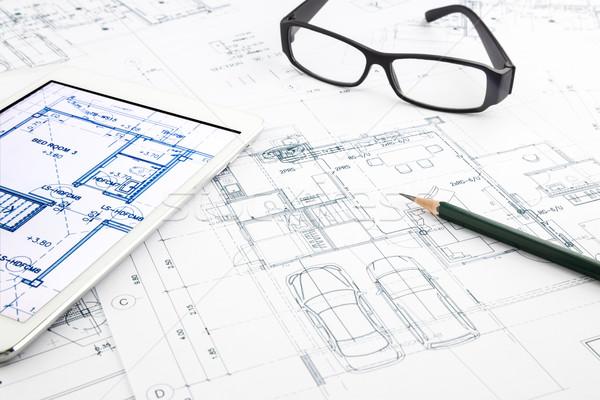 дома чертежи таблетка архитектура бизнеса Сток-фото © vinnstock