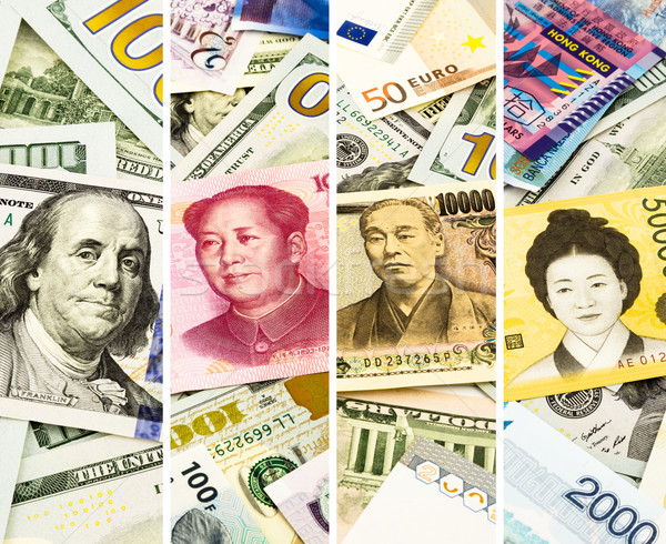 Face on world currency or money, collage and collection theme  Stock photo © vinnstock