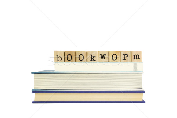 本の虫 言葉 木材 スタンプ 図書 スタック ストックフォト © vinnstock