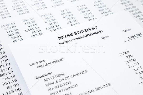 Kleine bedrijven inkomen detail lijst uitgaven boekhouding Stockfoto © vinnstock