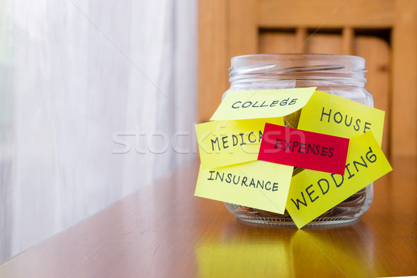 Expenses and orther tags on savings money jar Stock photo © vinnstock