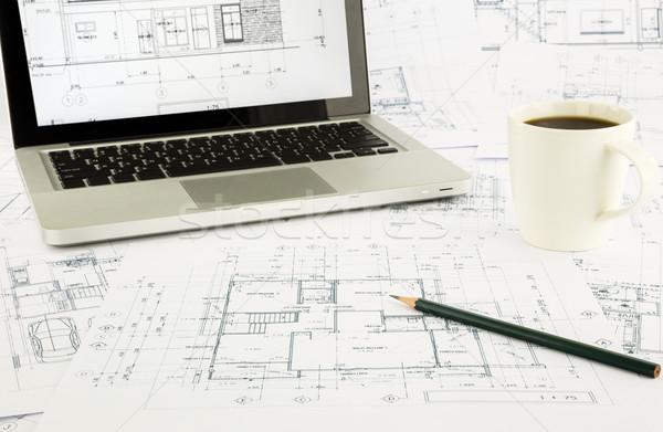 дома чертежи ноутбука архитектура бизнеса Сток-фото © vinnstock