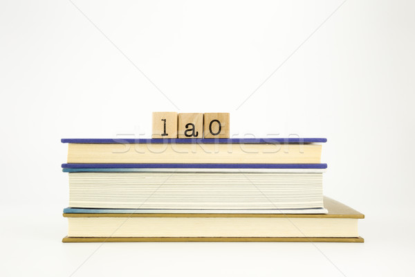 lao language word on wood stamps and books Stock photo © vinnstock