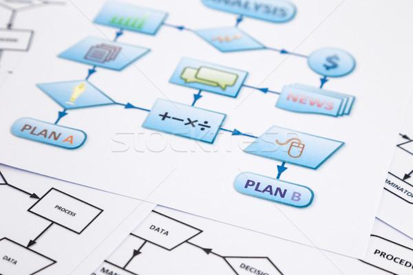 Process flow chart of business control plan Stock photo © vinnstock