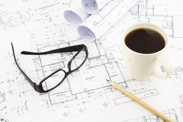 Domu plany architektury działalności okulary Zdjęcia stock © vinnstock