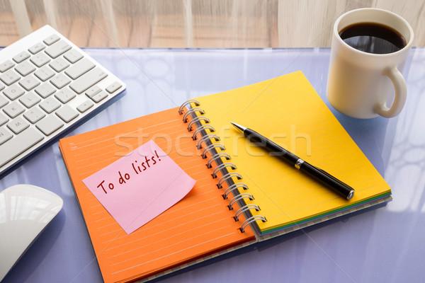 Kelime hatırlatma notepad dikkat sopa renkli Stok fotoğraf © vinnstock