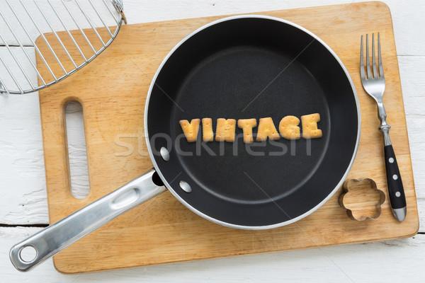 Süti kekszek szó klasszikus serpenyő felső Stock fotó © vinnstock