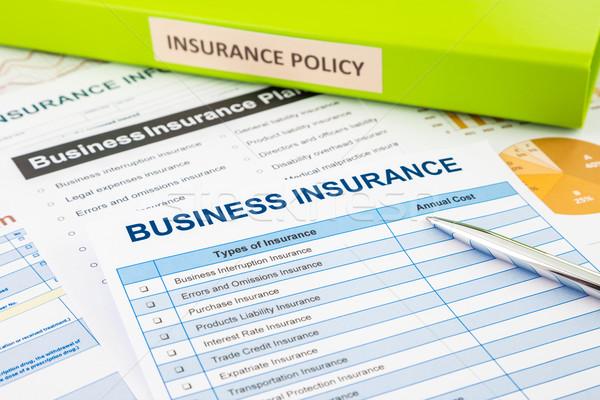 Business verzekering planning document Stockfoto © vinnstock