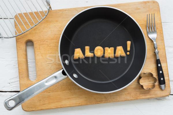 ábécé kekszek szó aloha konyhai felszerelés felső Stock fotó © vinnstock