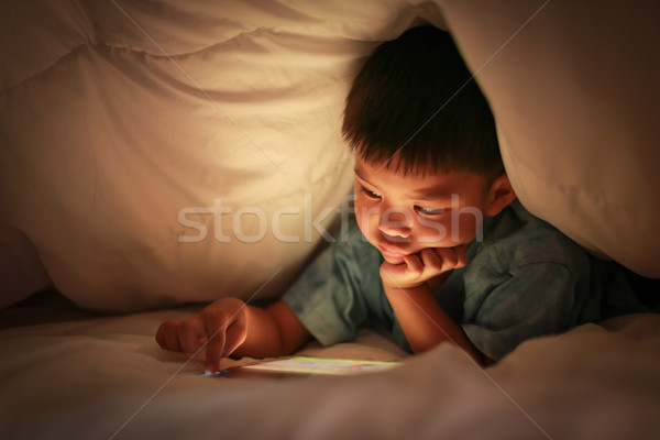 Kid tablet horloge online cartoon asian Stockfoto © vinnstock