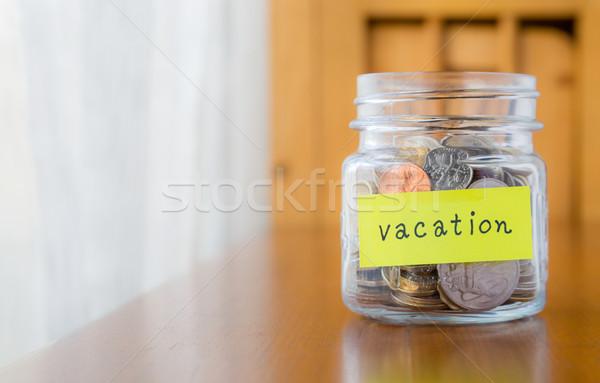 Geld besparing reizen vakantie glas bank Stockfoto © vinnstock