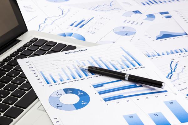ノートパソコン ペン 青 ビジネス チャート ストックフォト © vinnstock