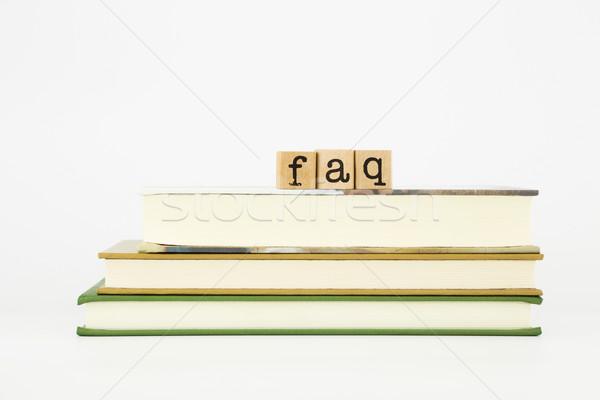 よくある質問 言葉 木材 スタンプ 図書 スタック ストックフォト © vinnstock