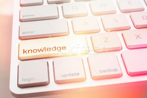 Fény tudás gomb számítógép billentyűzet közelkép modern Stock fotó © vinnstock