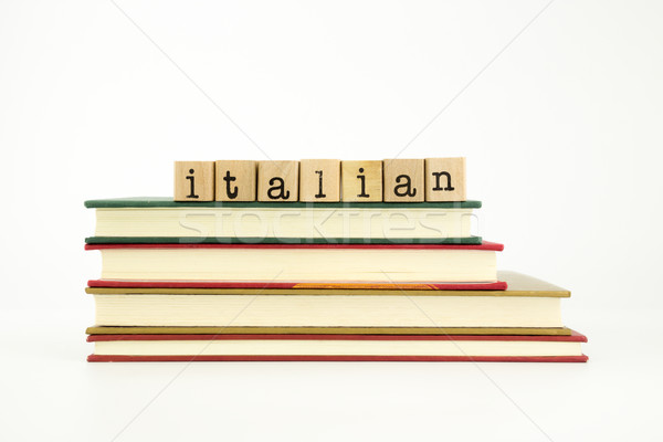 italian language word on wood stamps and books Stock photo © vinnstock