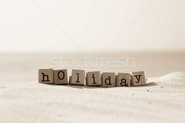 言葉 砂 ビーチ セピア 休日 ストックフォト © vinnstock