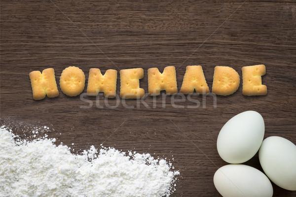 ábécé sütik szó házi készítésű főzés asztal Stock fotó © vinnstock
