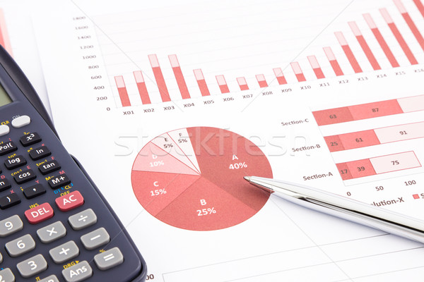 red business charts, graphs, report and summarizing background Stock photo © vinnstock