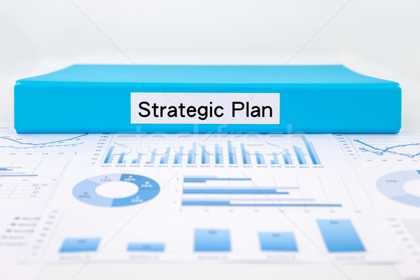 Strategisch plan grafieken charts evaluatie verslag Blauw Stockfoto © vinnstock