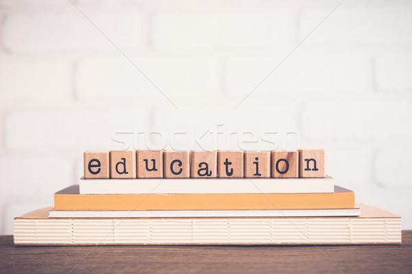 Woord onderwijs alfabet houten rubber Stockfoto © vinnstock