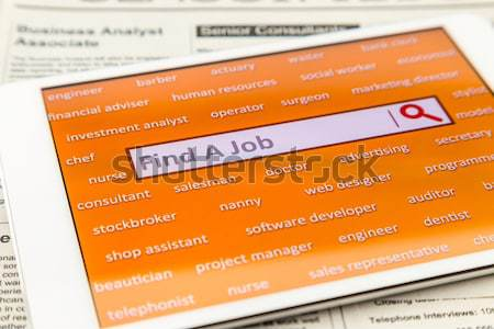 álláskeresés internet weboldal online narancs tabletta Stock fotó © vinnstock