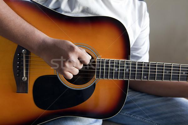 Foto stock: Jogar · guitarra · ver · direito · mão